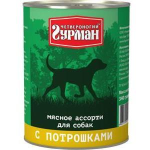 Корм для собак Четвероногий гурман мясное ассорти, 340 г, потрошки