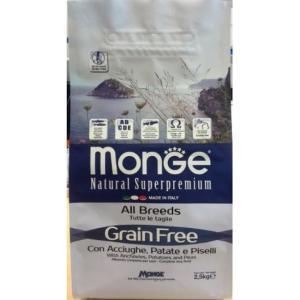 Корм для собак Monge All Breeds Grain Free, 2.5 кг, анчоусы с картофелем и горохом