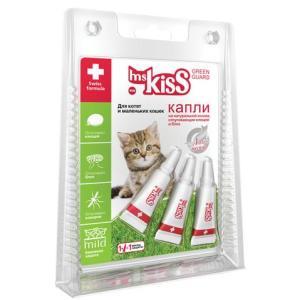 Капли от блох и клещей для котят и маленьких кошек Ms. Kiss Green Guard