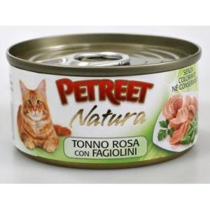 Консервы для кошек Petreet Natura, 70 г, розовый тунец с зеленой фасолью