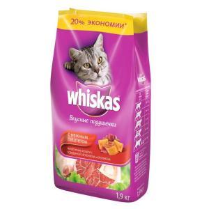 Сухой корм для кошек Whiskas Паштет, 1.9 кг, говядина с ягненком и кроликом
