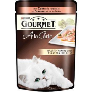 Влажный корм для кошек Gourmet A la Carte, 85 г, Лосось со Шпинатом, Цукини и Зеленой фасолью
