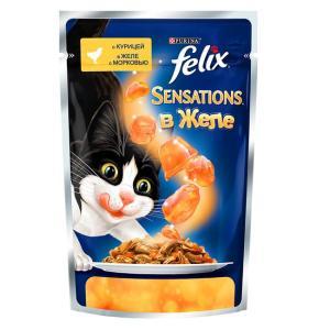 Влажный корм для кошек Felix Sensations, 85 г, курица с морковью