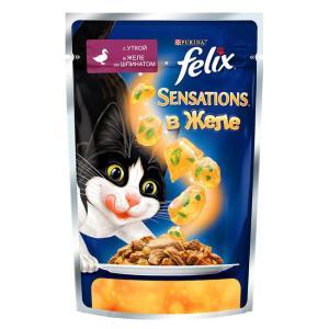 Влажный корм для кошек Felix Sensations, 85 г, утка со шпинатом
