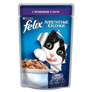 Корм для кошек Felix Аппетитные кусочки, 85 г, Ягненок