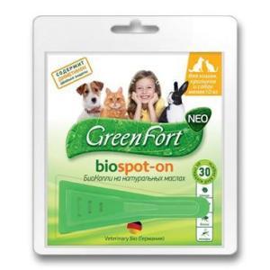 Капли от блох и клещей для собак и кошек Green Fort