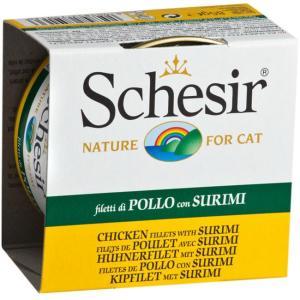 Корм для кошек Schesir, 85 г, филе цыпленка и крабы