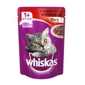 Корм для кошек Whiskas, 85 г, говядина и ягненок