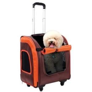 Сумка-тележка для собак и кошек Ibiyaya Liso, размер 40х31х44см., коричневый / оранжевый