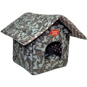 Домик для собак и кошек Родные Места Огурцы, размер 32x33x36см., синий