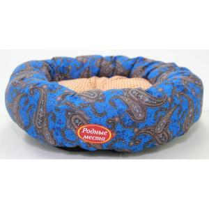 Лежак для собак Родные Места Ватрушка Огурцы синие, размер 50x50x15см.