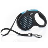 Фотография товара Поводок-рулетка для собак Flexi Design Classic M M, черный/голубой горох