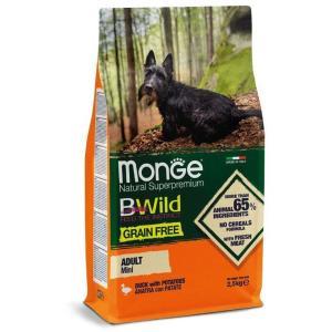 Корм для собак Monge Mini Adult Grain Free, 2.5 кг, утка с картофелем