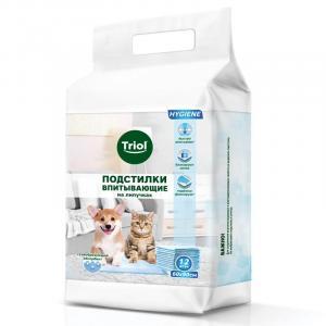 Пеленки впитывающие для собак и кошек Triol, размер 60x90см., 12 шт.