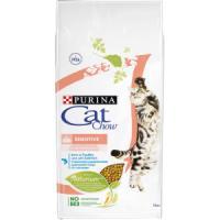 Фотография товара Корм для кошек Purina Cat Chow Sensitive, 15 кг, домашняя птица с лососем