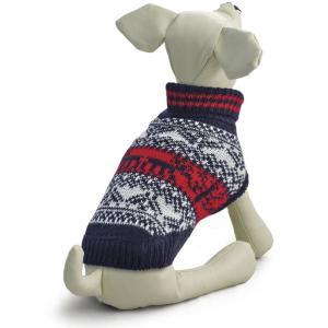 Свитер для собак Triol Орнамент S, размер 25см., темно-синий / белый / красный