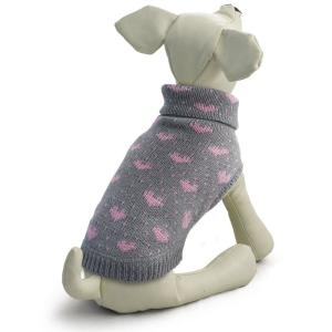 Свитер для собак Triol Сердечки XL, размер 40см., серо-розовый