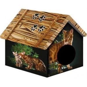 Домик для собак и кошек PerseiLine Бенгальский кот, размер 33х30х40см.