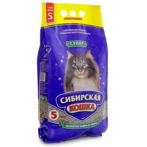 Наполнитель для кошачьего туалета Сибирская кошка Супер, 3.1 кг, 5 л