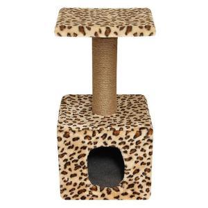 Домик с когтеточкой для кошек Гамма Цветной Мех, размер 40х40х65см., цвета в ассортименте