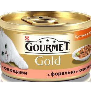 Корм для кошек Gourmet Gold, 85 г, форель с овощами