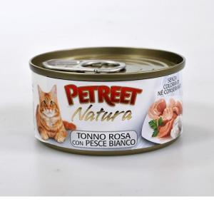 Консервы для кошек Petreet Natura, 70 г, розовый тунец с рыбой дорада