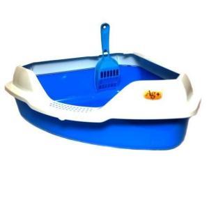 Угловой туалет для кошек Homecat, размер 56х42х18см., голубой