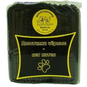 Пеленки для животных Пелигрин Доброзверики Black, размер 60x40см., 14 шт., черный