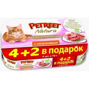 Корм для кошек Petreet Natura, 70 г, розовый тунец с морковью, 6