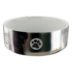 Миска для собак Trixie Ceramic Bowl M, размер 15см., серебряный / белый