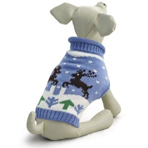 Свитер для собак Triol Олени S, размер 25см., голубой