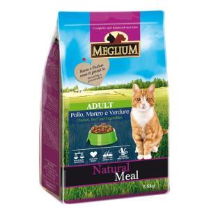 Корм для кошек MEGLIUM Cat Adult, 1.5 кг, говядина c курицей и овощами