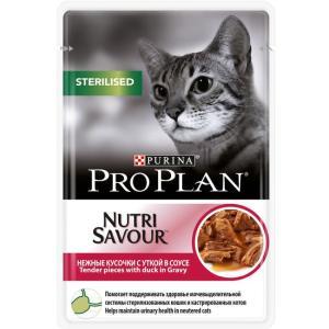 Корм для кошек Pro Plan Nutrisavour Sterilised, 85 г, утка