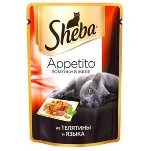 Корм для кошек Sheba Appetito, 85 г, телятина и язык