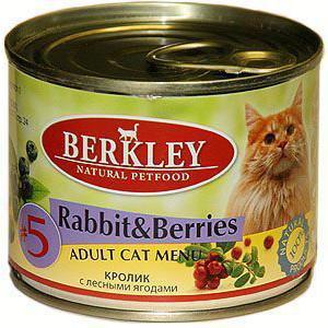 Корм для кошек Berkley Adult Cat, 200 г, кролик с лесными ягодами