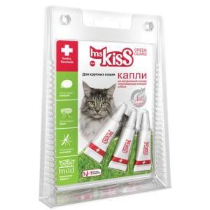 Капли от блох и клещей для крупных кошек Ms. Kiss Green Guard