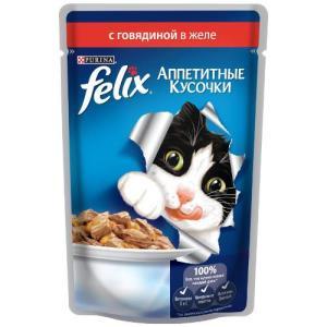 Влажный корм для кошек Felix Аппетитные кусочки, 85 г, говядина