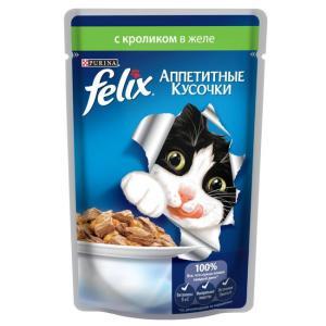 Влажный корм для кошек Felix Аппетитные кусочки, 85 г, кролик