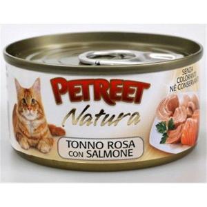 Консервы для кошек Petreet Natura, 70 г, розовый тунец с лососем