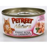 Фотография товара Консервы для кошек Petreet Natura, 70 г, розовый тунец с креветками