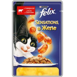 Влажный корм для кошек Felix Sensations, 85 г, говядина с томатами
