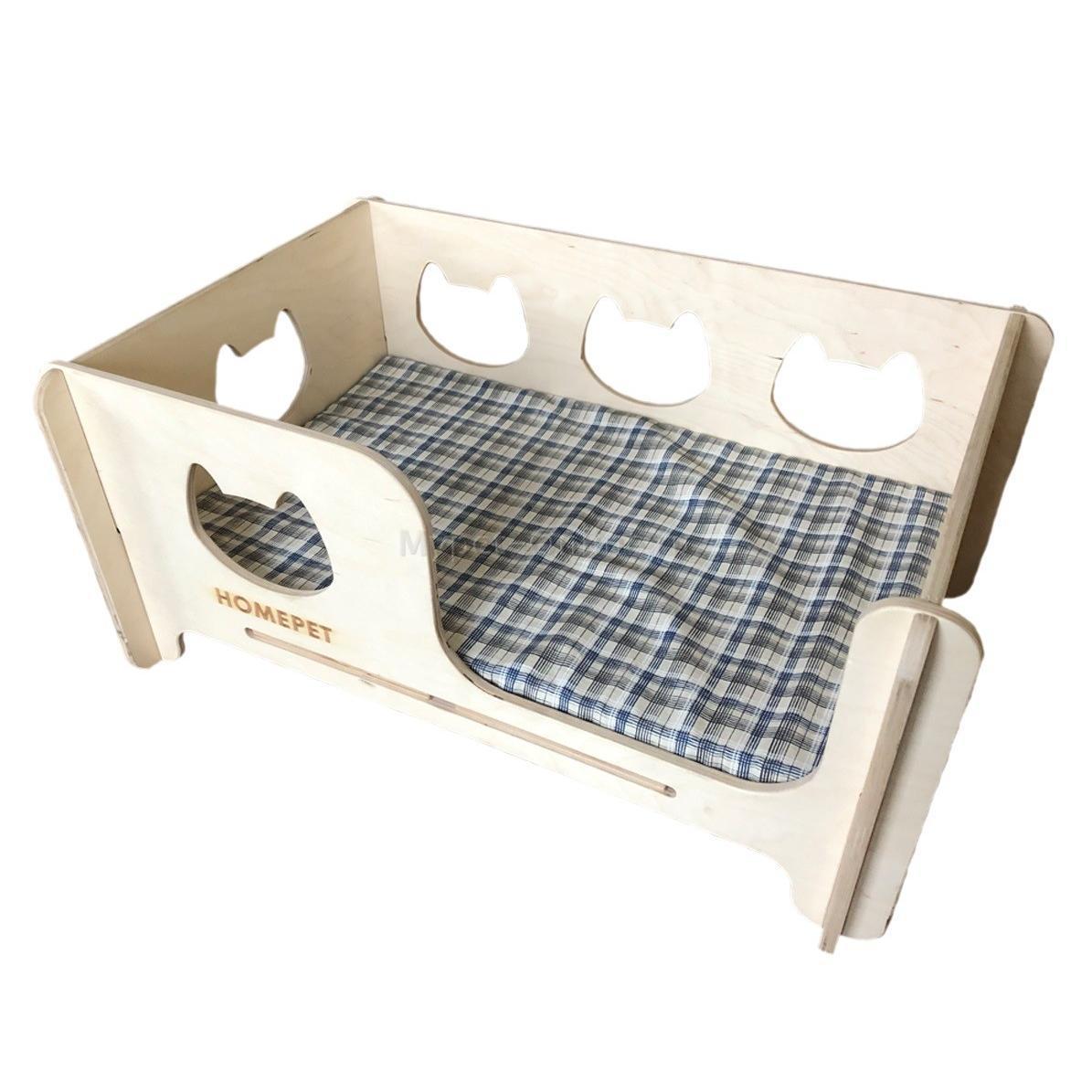 Кроватка деревянная с матрасом Homepet, размер 75х56х27 см. - Интернет зоомагазин MyPet-Online.ru