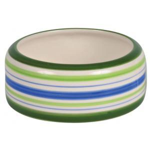 Миска для грызунов Trixie Ceramic Bowl M, 200 мл, размер 11см., зелёный / синий / кремовый