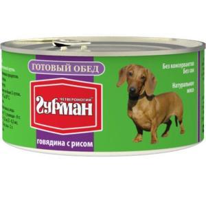 Корм для собак Четвероногий гурман готовый обед, 325 г, говядина и рис