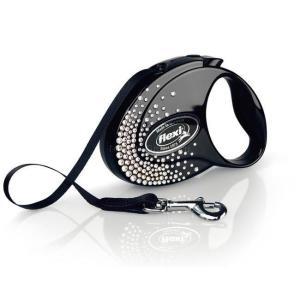 Рулетка для собак Flexi Glam Splash Crystal S, черный