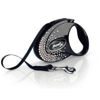 Фотография товара Рулетка для собак Flexi Glam Splash Crystal S, черный