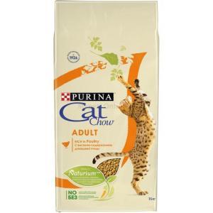 Корм для кошек Purina Cat Chow Adult, 15 кг, домашняя птица