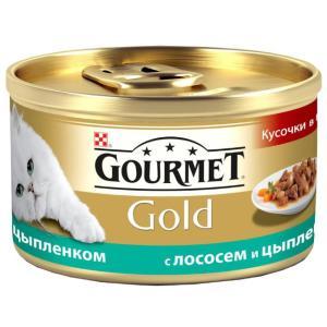 Корм для кошек Gourmet Gold, 85 г, лосось с цыпленком