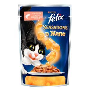 Влажный корм для кошек Felix Sensations, 85 г, лосось и треска