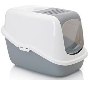 Закрытый туалет с фильтром для кошек Savic Nestor, размер 56х39х38.5см., белый/светло-серый